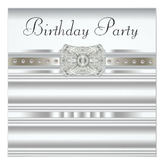 Pure White Diamond Womans Birthday Party Card