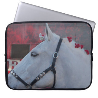 pure white horse with black bridle laptop sleeve