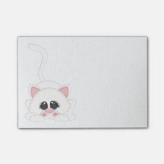 Pure White Kitty Cat Playing Post-it® Notes