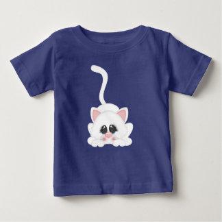 Pure White Kitty Cat Playing T Shirts