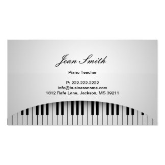 Pure White Piano Keys Piano Teacher Profile Card Pack Of Standard Business Cards