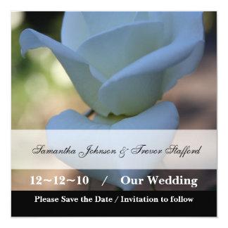 Pure White Rose 13 Cm X 13 Cm Square Invitation Card