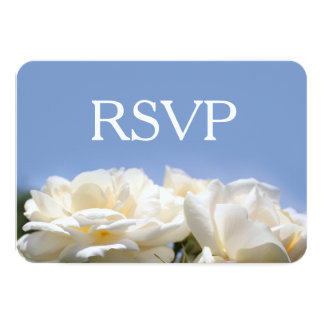 pure white rose flowers  wedding rsvp card