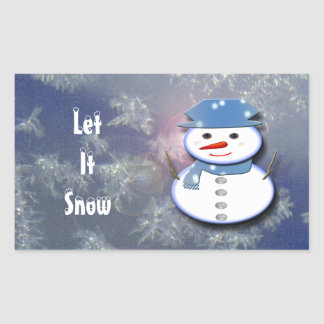 Pure White Snowman Rectangular Sticker