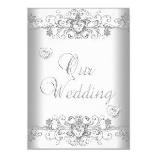 Pure White Wedding Silver Diamond Hearts 11 Cm X 16 Cm Invitation Card