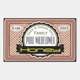Pure Wildflower Customised Honey Jar Rectangular Sticker