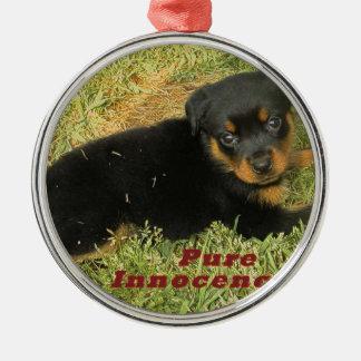 pureinnocence rottweiler puppy metal ornament