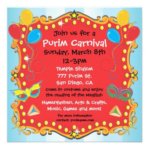 Purim Carnival Party Invitation Poster