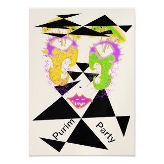 Purim Party Celebration Abstract Style Invitations