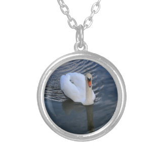 Purity of the swan silver plated necklace