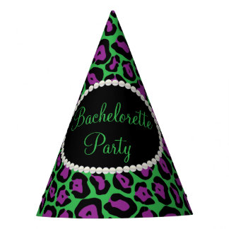 Purp/Green Leopard Print Pearls, Bachelorette Hats