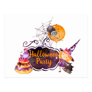 Purpe Halloween Party Little Witch Frog and Spider Postcard