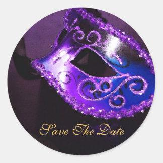 Purpl Masqurade Mask Elegant Save The Date Sticker