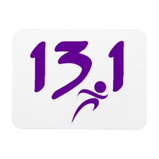 Purple 13.1 half-marathon rectangle magnets