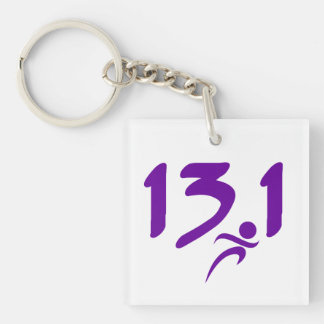 Purple 13.1 half-marathon Single-Sided square acrylic key ring