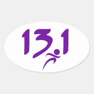 Purple 13.1 half-marathon stickers