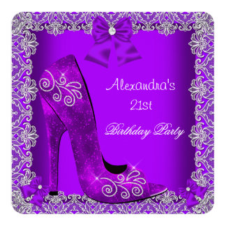 Purple 21st Birthday High Heel Shoe Silver Lace 2 13 Cm X 13 Cm Square Invitation Card
