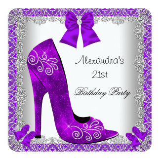 Purple 21st Birthday High Heel Shoe Silver Lace 5.25x5.25 Square Paper Invitation Card