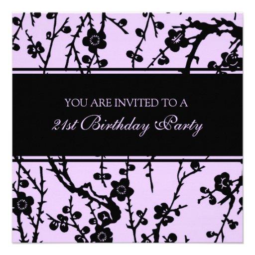 Purple 21st Birthday Party Invitations