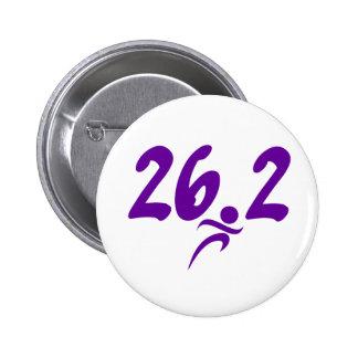 Purple 26.2 marathon 6 cm round badge