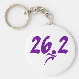 Purple 26.2 marathon basic round button key ring