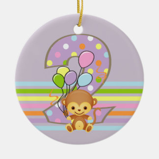 Purple 2nd Birthday Monkey and Balloons Ornament