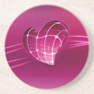 purple 3d love heart drink coasters