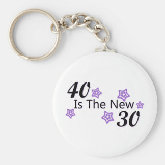 Purple 40 is the New 30 Basic Round Button Key Ring