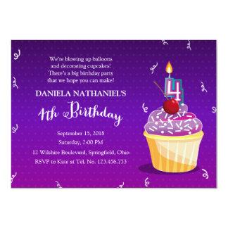 Purple 4th Birthday Cupcake Party 11 Cm X 16 Cm Invitation Card