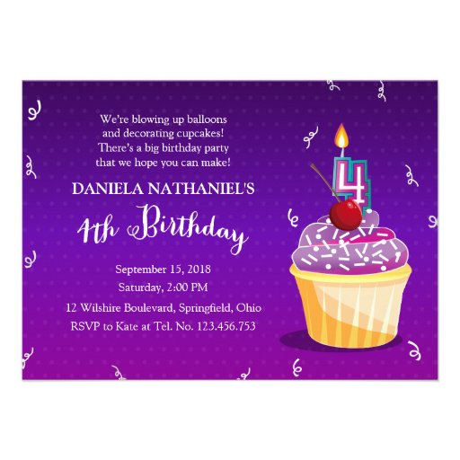 Purple 4th Birthday Cupcake Party Announcement
