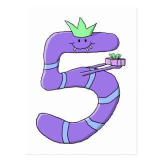 Purple 5th Birthday Cartoon. Postcard