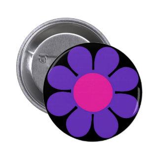 Purple 60's Flower Power Pin