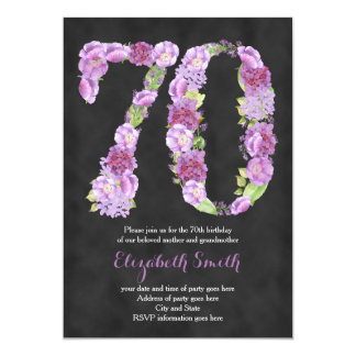 purple 70th birthday party invitations for lady