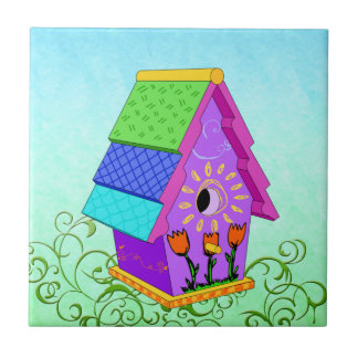 Purple A-Frame Birdhouse Tiles and Trivets