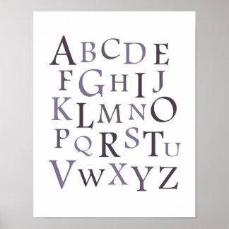 Purple ABC Nursery Typography Print