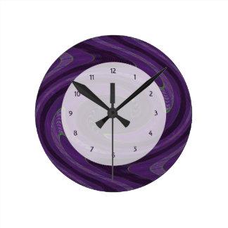 purple abstract art clock