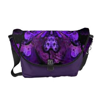 Purple Abstract Butterfly Messenger Bag - Medium
