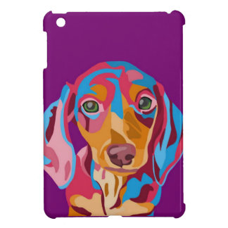 Purple Abstract Dachshund iPad Mini Cover