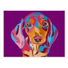 Purple Abstract Dachshund Postcard