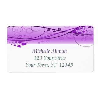 Purple Abstract Floral Swirls Label Shipping Label
