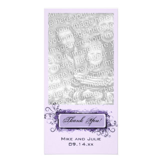 Purple Abstract Floral Thank You Card