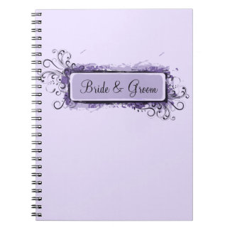 Purple Abstract Floral Wedding Notebook