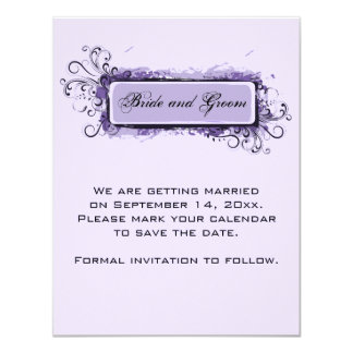 Purple Abstract Floral Wedding Save the Date 11 Cm X 14 Cm Invitation Card