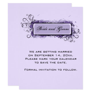 Purple Abstract Floral Wedding Save the Date Card