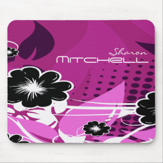 Purple Abstract Flowers Mouse Pad