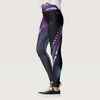 purple abstract gymnastics leggings
