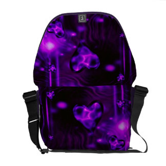 Purple Abstract Hearts Courier Bags