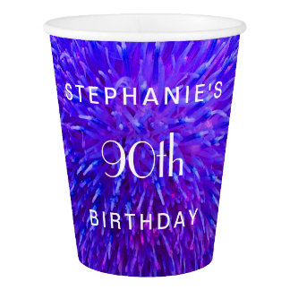 Purple Abstract Paper Cups, 90th Birthday Party Paper Cup