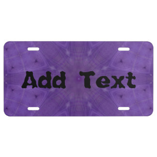Purple abstract pattern of wood license plate