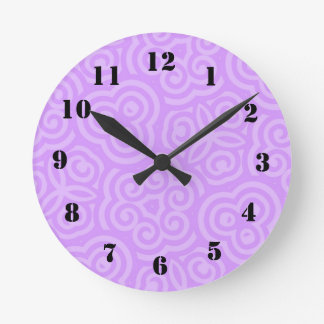 Purple Abstract Pattern Round Clock